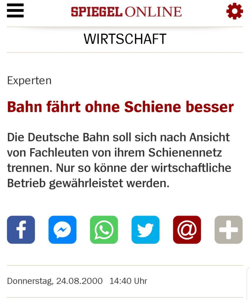 Bahn fährt ohne Schiene besser: Die Deutsche Bahn soll sich nach Ansicht von Fachleuten von ihrem Schienennetz trennen. Nur so könne der wirtschaftliche Betrieb gewährleistet werden.